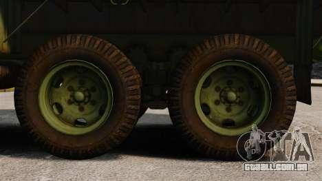 Base militar caminhão AM geral M35A2 1950 para GTA 4 vista de volta
