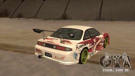 Nissan 200SX S14A Fairy Tail para GTA San Andreas traseira esquerda vista