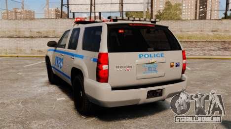 Chevrolet Tahoe 2007 NYPD [ELS] para GTA 4 traseira esquerda vista