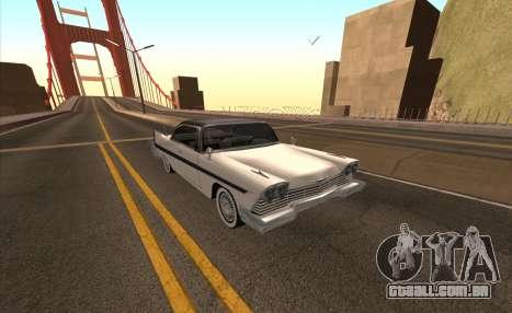 Plymouth Fury para vista lateral GTA San Andreas