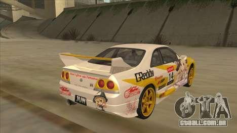 Nissan Skyline R33 Itasha para GTA San Andreas traseira esquerda vista