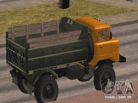 Caminhão de gás-66 para GTA San Andreas vista inferior