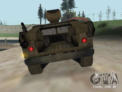 Hamvee M-1025 de Battlefiled 2 para GTA San Andreas vista traseira