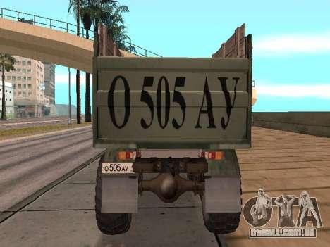 Caminhão de gás-66 para GTA San Andreas vista interior