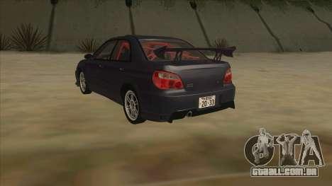 Subaru Impreza WRX STI Drift 2004 para GTA San Andreas vista traseira