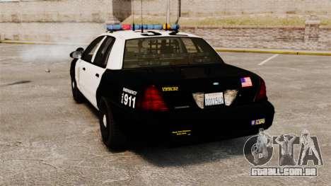 Ford Crown Victoria Police GTA V Textures ELS para GTA 4 traseira esquerda vista