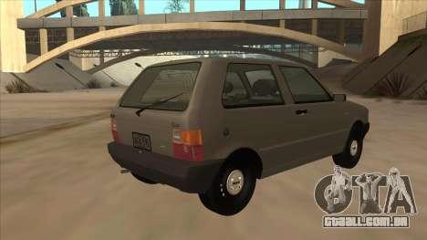 Fiat Uno 1995 para GTA San Andreas vista direita