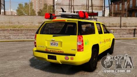 Chevrolet Suburban Los Santos Lifeguard [ELS] para GTA 4 traseira esquerda vista