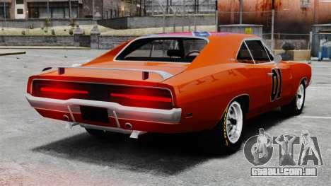 Dodge Charger 1969 General Lee v2 para GTA 4 traseira esquerda vista