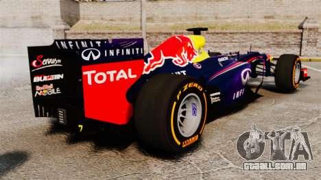 Carro, Red Bull RB9 v2 para GTA 4 traseira esquerda vista