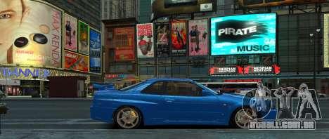 Nissan Skyline GTR-34 para GTA 4 traseira esquerda vista