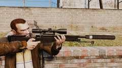 Rifle de sniper L115A1 AW com um silenciador v4 para GTA 4