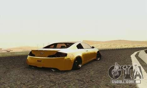 Infiniti G35 Hellaflush para GTA San Andreas vista traseira