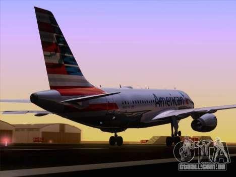 Airbus A319-112 American Airlines para vista lateral GTA San Andreas