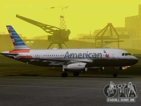 Airbus A319-112 American Airlines para as rodas de GTA San Andreas
