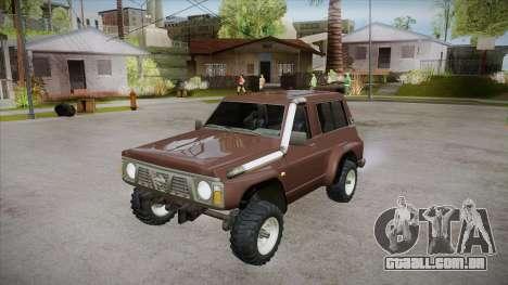 Nissan Patrol Y60 para GTA San Andreas vista inferior