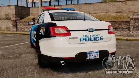 Ford Taurus 2010 Police Interceptor Detroit para GTA 4 traseira esquerda vista