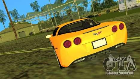 Chevrolet Corvette C6 para GTA Vice City vista traseira esquerda