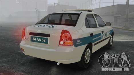 Hyundai Accent Admire Turkish Police [ELS] para GTA 4 traseira esquerda vista