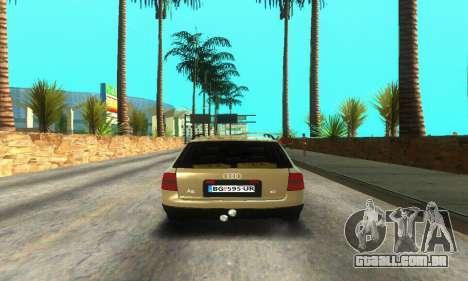 Audi A6 (C5) Avant para GTA San Andreas vista traseira