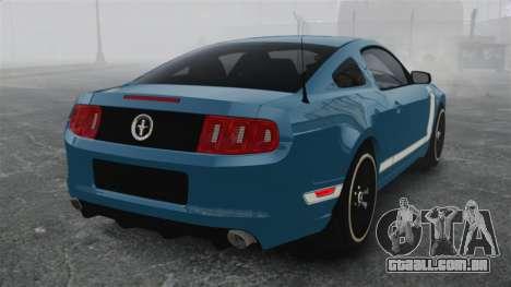Ford Mustang BOSS 2013 para GTA 4 traseira esquerda vista