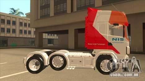 Scania R620 Nis Kamion para GTA San Andreas traseira esquerda vista