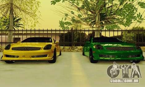 Infiniti G35 Hellaflush para GTA San Andreas vista interior