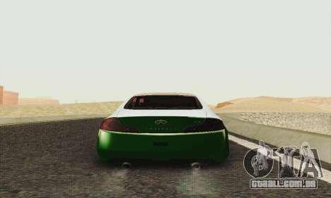 Infiniti G35 Hellaflush para GTA San Andreas vista direita