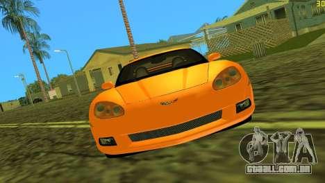 Chevrolet Corvette C6 para GTA Vice City deixou vista