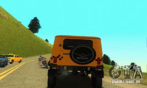 UAZ Hunter táxi para GTA San Andreas vista traseira