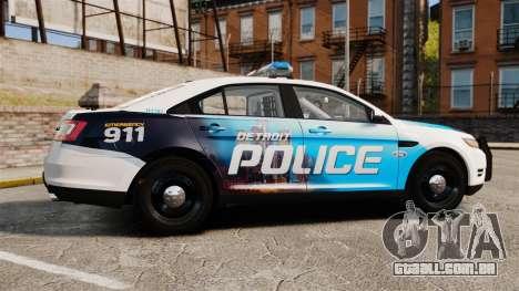 Ford Taurus 2010 Police Interceptor Detroit para GTA 4 esquerda vista