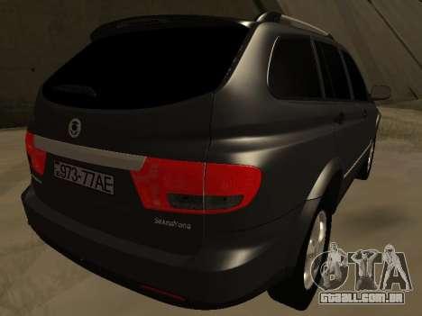 SsangYong New Kyron 2013 para GTA San Andreas traseira esquerda vista