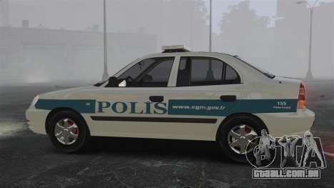 Hyundai Accent Admire Turkish Police [ELS] para GTA 4 esquerda vista