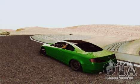 Infiniti G35 Hellaflush para GTA San Andreas traseira esquerda vista