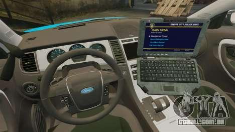 Ford Taurus 2010 Police Interceptor Detroit para GTA 4 vista interior