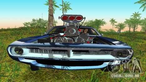 Plymouth Barracuda Supercharger para GTA Vice City vista traseira esquerda