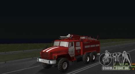 Ural 4320 bombeiro para GTA San Andreas traseira esquerda vista