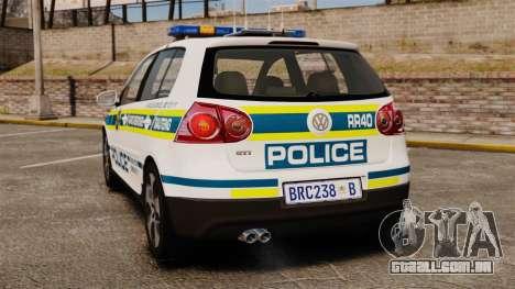 Volkswagen Golf 5 GTI Police v2.0 [ELS] para GTA 4 traseira esquerda vista