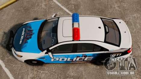 Ford Taurus 2010 Police Interceptor Detroit para GTA 4 vista direita