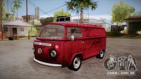 Volkswagen Transporter T2 Custom para vista lateral GTA San Andreas
