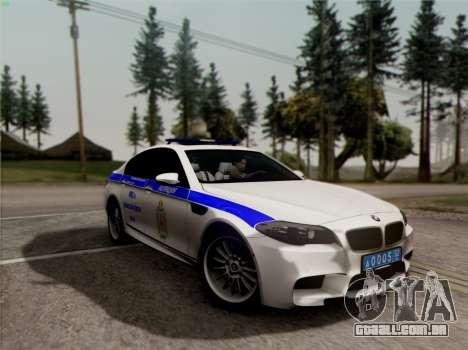 BMW M5 F10 ESCRITÓRIO INTERIOR para vista lateral GTA San Andreas
