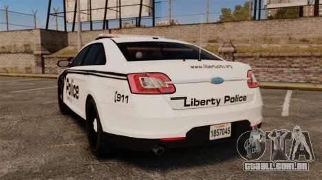 Ford Taurus Police Interceptor 2011 [ELS] para GTA 4 traseira esquerda vista