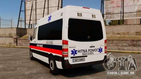 Mercedes-Benz Sprinter Zagreb Ambulance [ELS] para GTA 4 traseira esquerda vista
