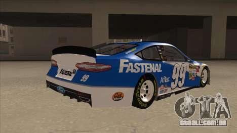 Ford Fusion NASCAR No. 99 Fastenal Aflac Subway para GTA San Andreas vista direita