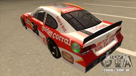 Chevrolet SS NASCAR No. 36 Golden Corral para GTA San Andreas vista traseira