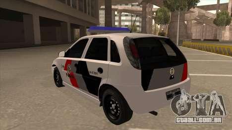 Chevrolet Corsa VHC PM-SP para GTA San Andreas vista traseira
