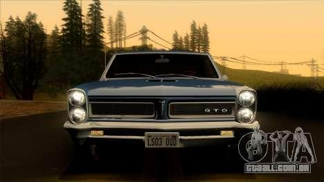 Pontiac Tempest LeMans GTO Hardtop Coupe 1965 para GTA San Andreas vista traseira
