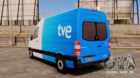 Mercedes-Benz Sprinter Spanish Television Van para GTA 4 traseira esquerda vista