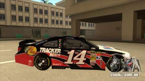 Chevrolet SS NASCAR No. 14 Mobil 1 Tracker Boats para GTA San Andreas traseira esquerda vista