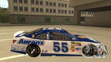 Toyota Camry NASCAR No. 55 Aarons DM white-blue para GTA San Andreas traseira esquerda vista